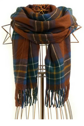 HUGE PLAID BLANKET SCARF! RUST BROWN PLAID.
