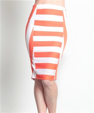 Long Striped Pencil Skirt from TASHA! Orange & White Colorblock.