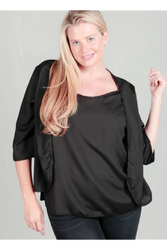 PLUS SIZE SOLID BLACK TOP WITH CARDIGAN EFFECT.