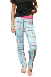 $35 Tags! 50% Cotton Pajama Pants! Blue with Kitty Cat Who Hates Mornings!