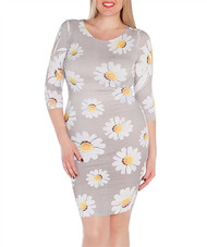 PLUS SIZE Long Sleeve Dress with Sunflowers!