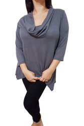 PLUS SIZE 96% Rayon Cowl Neck Long Sleeve Top! Grey.