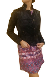 Belted Jacket, 70% Cotton Solid Black
