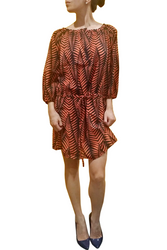 LONG SLEEVE SHIFT DRESS IN ORANGE & BLACK FLORAL PATTERN FROM LUCY PARIS!