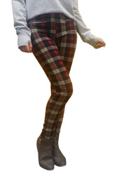 Fleece Lined Jeggings With Zipper Pockets. Tan & Red Plaid. One Size.