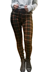 Fleece Lined Jeggings With Zipper Pockets. Tan & Green Plaid. One Size.
