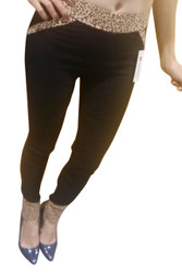 70% Rayon Jeggings! Dark Brown with Leopard Print Trims Pockets Zipper Ankles.
