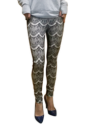 Black Stretch Pants with White Lace Tattoo Overlay from CHOCOLATE USA!