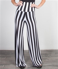 Classic Black & White Striped Palazzo Pants with Foldover Yoga Waist!