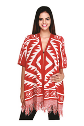 BOUTIQUE TASSEL SWEATER CAN BE WORN AS A PONCHO OR CARDIGAN! RED AZTEC/TRIBAL.
