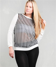 PLUS SIZE. Long Sleeve Black & White Top with Vertical Stripes!