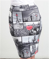 Long Paris Print Pencil Skirt from CLEO!