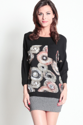 100% Cotton Long Sleeve Black Top with Retro Geo Pattern! Black/Rust.