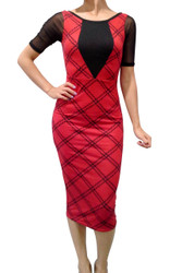Long Plaid Dress with Sheer Sleeve and Scoop Back from Derek Heart! Red / Black.