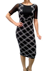 Long Plaid Dress with Sheer Sleeve and Scoop Back from Derek Heart! Black.