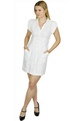 Classic Solid White Dress with Buttons, Collar and Pockets!