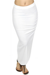 LONG WHITE MAXI SKIRT WITH GARNERED HIP!