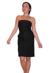 Strapless Black Dress with Zipper Back & Studs! Cotton.