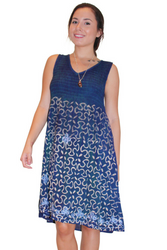ONE SIZE EMBROIDERED & TIE DYED BOHO DRESS - DARK BLUE. ONE SIZE (Up to Size 18).