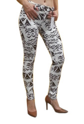 Stretch Skinny Jeans In Black & White Tribal Patterns!