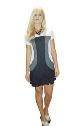 100% Rayon Colorblock Tunic Dress! Black & White.
