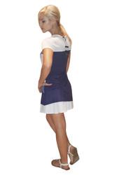 100% Rayon Colorblock Tunic Dress! Denim Blue.