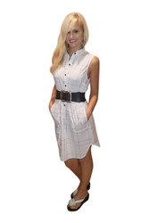 Classic Cotton Shirt Dress! White & Black Pattern. From Casting L.A.!