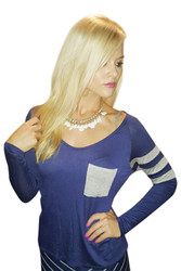 95% Rayon Long Sleeve Top! Navy with Classic Heather Grey Trim.