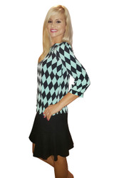 Green, Black Argyle Top With Long Sleeves!