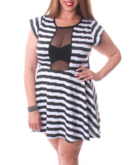 PLUS SIZE Black & White Striped Dress with Sheer Chest!