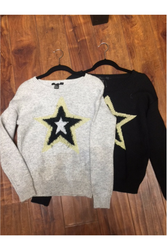 Sweater with Fuzzy Star from Major Brand Name! Heather Grey.
