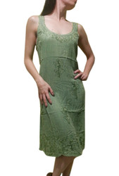 100% RAYON BOHO-CHIC GREEN EMBROIDERED DRESS! ONE SIZE (Up to Size 18).