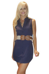 Classic Cotton Shirt Dress! Navy Blue. From Casting L.A.!