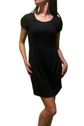 Solid Black Skater Dress with Long Zipper Back! America's Hottest Brand.