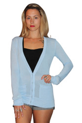 Extra Long Rayon Blend Button Down Cardigan In Sky Blue!