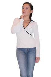 80% Cotton Long Sleeve Pullover Top With Black Trim & Collar!