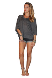 Rayon Blend V-Neck Top With Cape Sleeves! Grey.