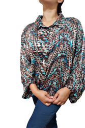 Plus Size Button Down Turquoise Camo Top! 3/4 Long Sleeves.