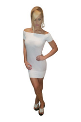 Seamless Cap Sleeve White Dress from NEW MIX! One-Size Fits Most.