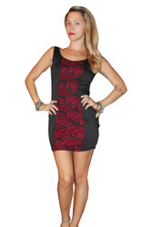 Black Bodycon Dress with Fuchsia Lace Contoured Front!