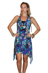 Halter Dress with Floral Print, and Crossover Front. Blue Floral.