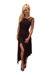 Long, Rayon Dress With Lace Accents! Black.