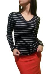 Classic Striped Cotton V-Neck Sweater. Black.