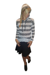 Knit Top with Hoodie and Chiffon Peplum. Black & White.