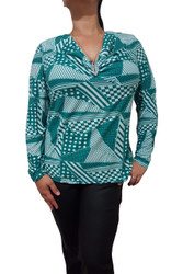 PLUS SIZE Long Sleeve Top With Stones. Green.