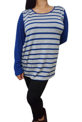 PLUS SIZE Top With Tie & Flyaway Back! Blue & Grey Stripes.