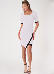 Short Sleeve Bodycon Dress. White with Black Colorblock.