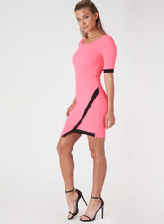 Short Sleeve Bodycon Dress. Neon Pink with Black Colorblock.