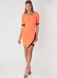 Short Sleeve Bodycon Dress. Neon Orange with Black Colorblock.