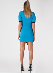 Short Sleeve Bodycon Dress. Cobalt Blue with Black Colorblock.